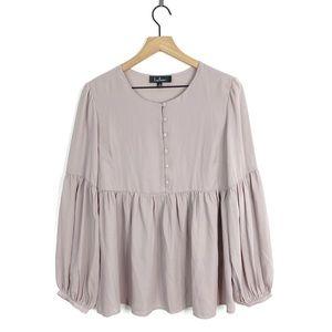 Lulus Chiffon Pleated Taupe Long Sleeve Blouse Top